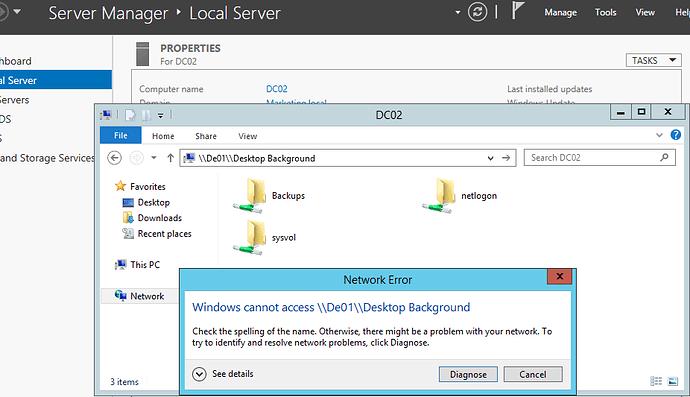 Shared folder error